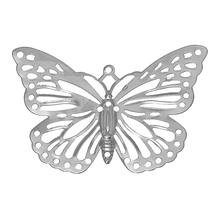 "Alloy Charm Pendants Butterfly Silver Tone Hollow 38.0mm(1 4/8"") x 26.0mm(1""), 1 Pc 2015 new(China (Mainland))"