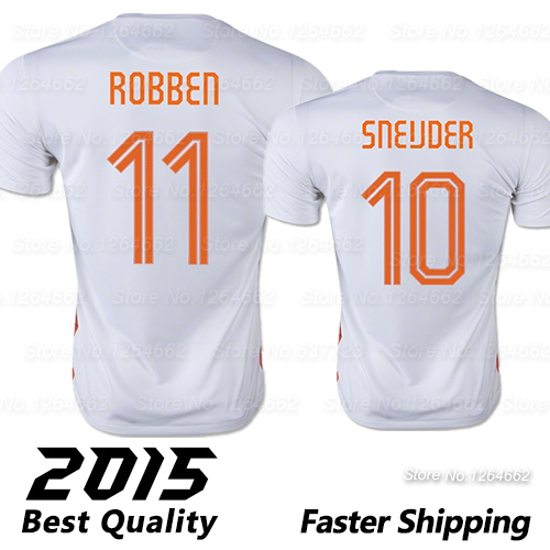 Top Thai Quality 2015 Soccer Jerseys ROBBEN SNEIJDER NETHERLANDS Jerseys 15 16 White Camisa Holanda away camisetas de futbol(China (Mainland))
