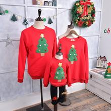 Family Matching Clothes 2017 Christmas Sweater Thick with velet For Father Mother Son Daughter Baby Mon Dad Outfits Hoodies(China)