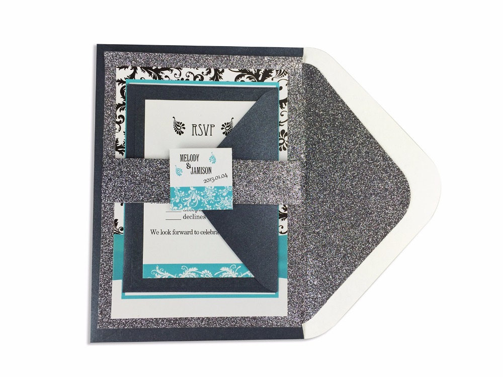 30pcs/lot glitter liner envelop invitation and RSVP set ( including belly band and tag) GDD011V102(China (Mainland))