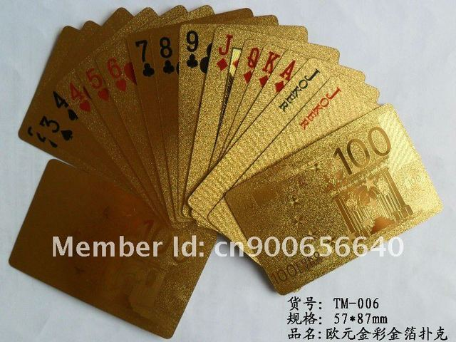 Specializing in the production of U.S. dollars, euros patterned gold 57 * 87mm playing cards, customized special cards