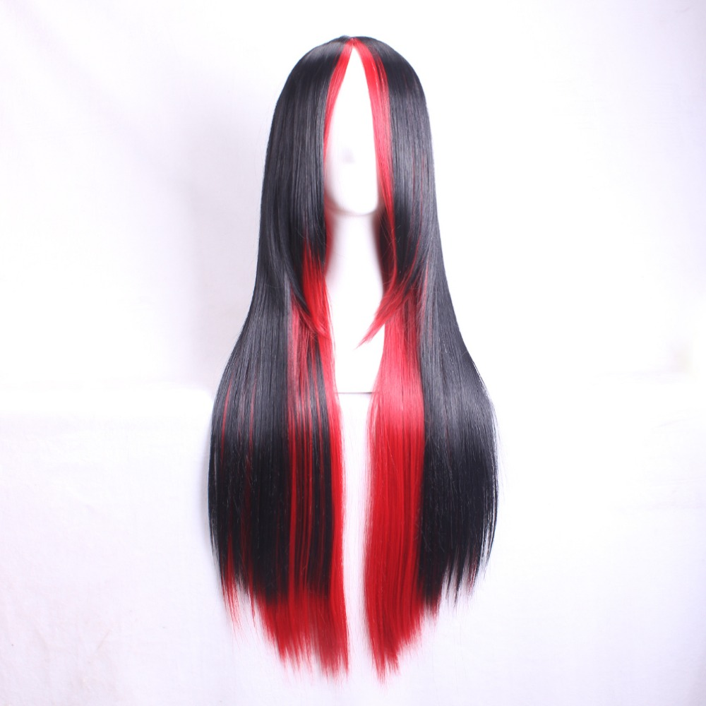 Cheap Harajuku Wig Pelucas Pelo Natural Synthetic Wigs Women Heat Resistant Perruque Anime Cosplay Wigs Black/Red Ombre<br><br>Aliexpress