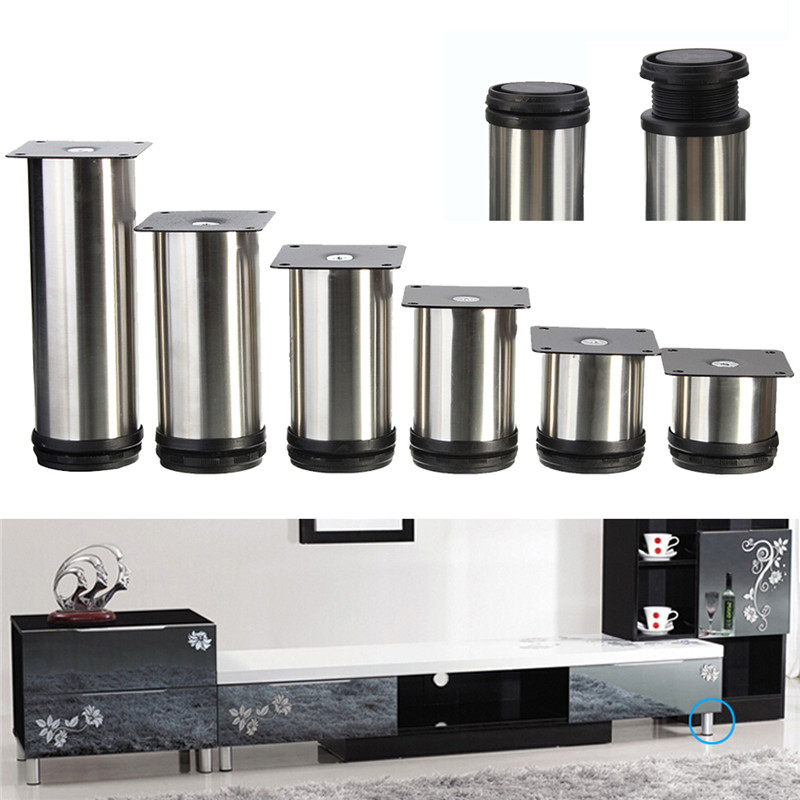 Durable Quality 4 pcs cabinet metal legs adjustable stainless steel kitchen feet round stand(China (Mainland))
