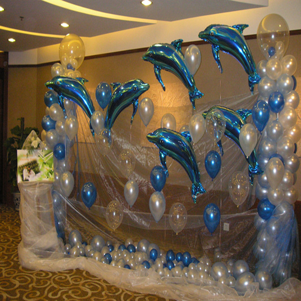 10p large pink blue dolphin foil helium balloon birthday for Decoration stuff