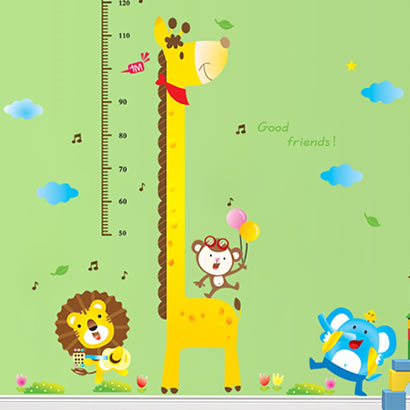 The third generation wall stickers height cartoon child real animal height stickers