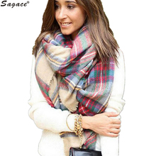 Sagace Autumn Winter Scarf Womens Plaid Cozy Checked Wrap Cashmere Imitation Shawl Lady Blanket Oversized font