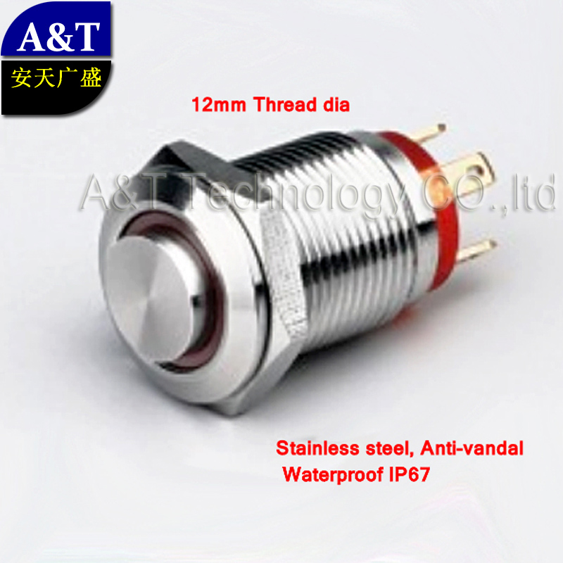 100pcs Mini 12mm metal anti vandal momentary 6v 12v 24v ring led push button switch , waterproof ip67 micro illuminated switch(China (Mainland))