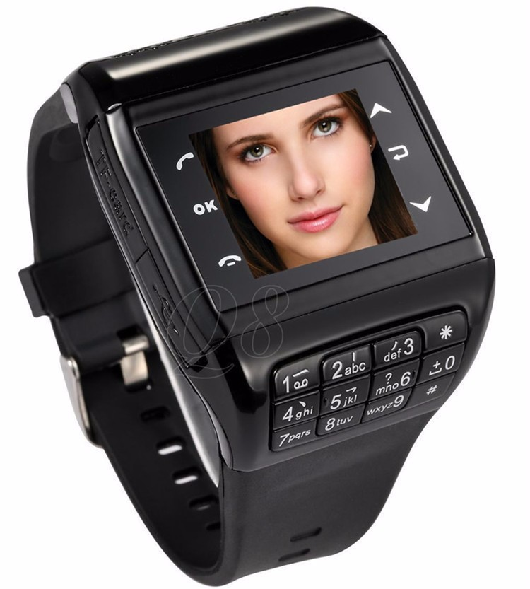 2014 Q8 Watch Phone Wrist Cell Phone Mobile AT&T Mobile: Unlocked Dual Sim Card Dual Standby Touch Screen Keyboard Free Shipping(China (Mainland))