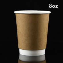 Disposable Paper Coffee Cups Double Layers Hot Craft Paper Cups For Coffee &Milk With Matching Plastic Lids(China (Mainland))