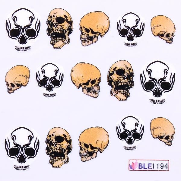 Dollarsky Mixed 11 Styles BLE1192-1202 Skull Nail Art Decals Water Stickers(China (Mainland))