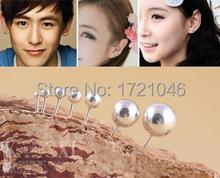 Wholesale 925 Sterling Silver earrings bijoux 4 size 5mm Hypoallergenic Fashion Sphere stud earrings For Women