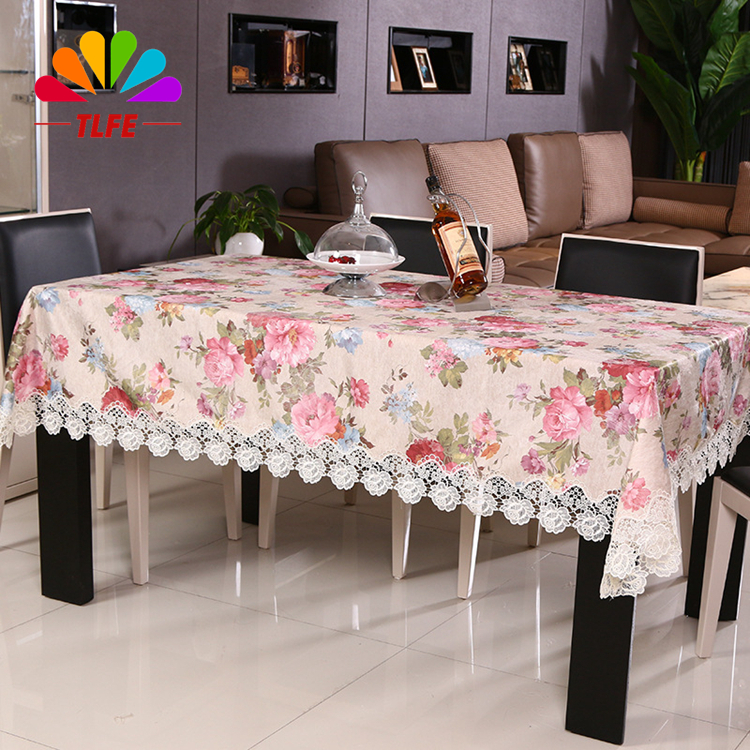 TLFE Home&Garden Pastoral Wedding Tablecloth Home Textile Printed Satin Table Cloth Lace Hollow Out manteles para mesa ZB036(China (Mainland))