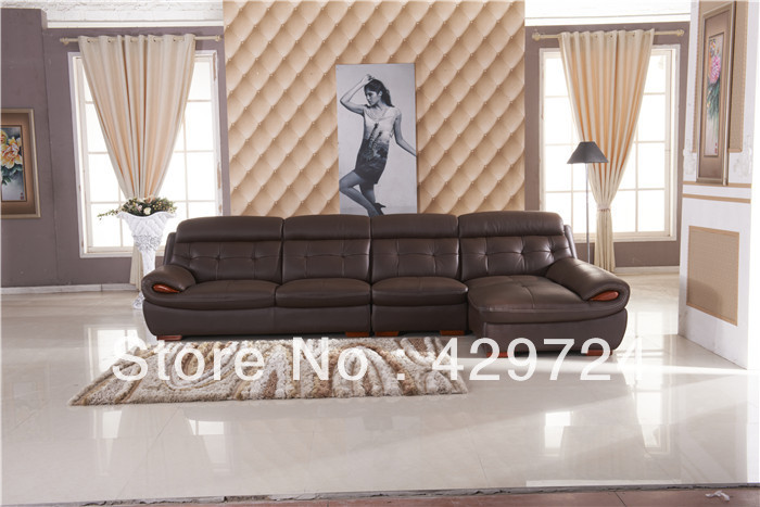 European sofa Design, made in with top grain leather L shaped corner sofa which chaise longue, Best Living room furniture AA017(China (Mainland))