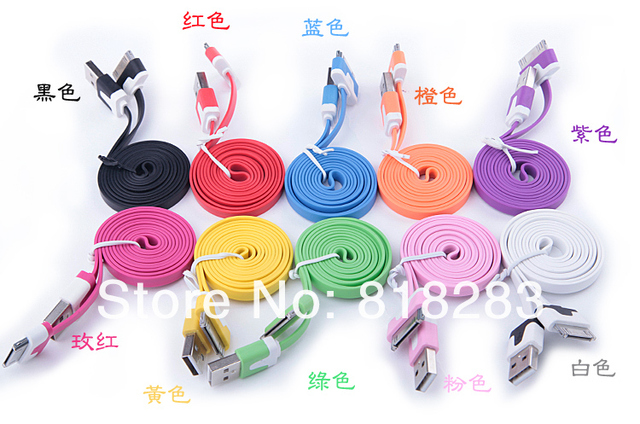 1pcs free shipping  New Arrival colorful flat noodle usb sync charger/data cable for iphone 4 4s 3gs for ipad 2 3