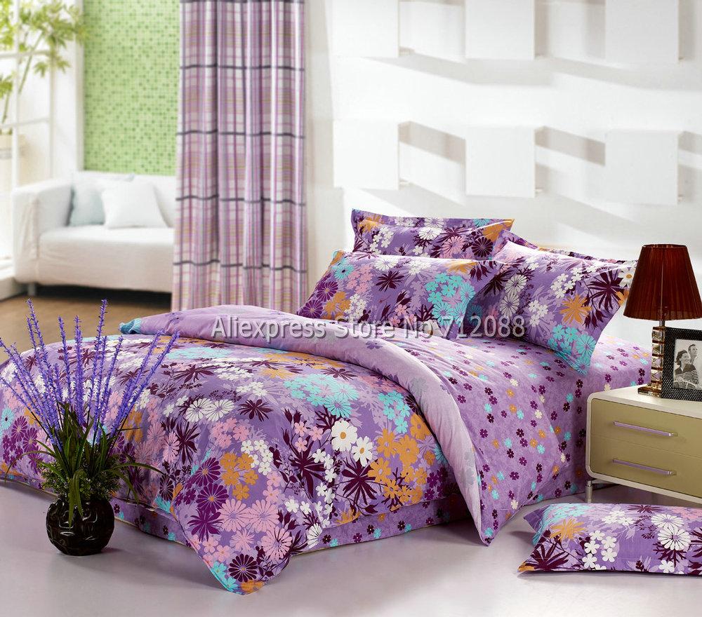 100 cotton home textile 4pc queen full blue white orange - Orange and purple bedding ...