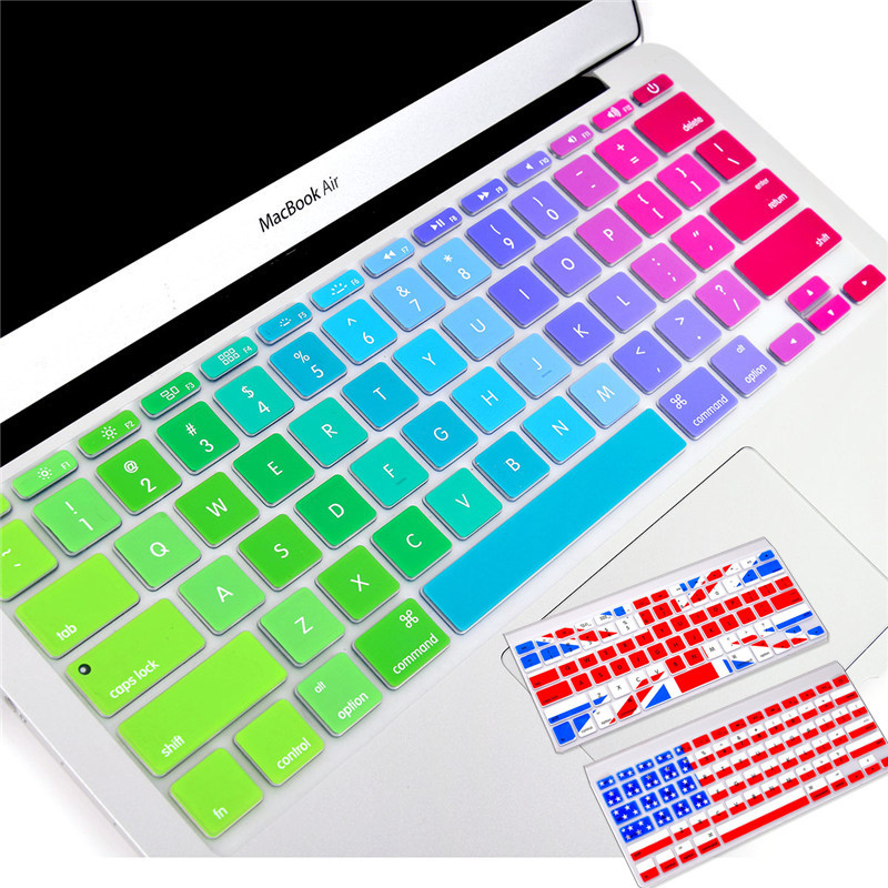 "Silicone Colorful Keyboard Stickers for Macbook Keyboard Cover US&EU Version 13"" 15"" 17"" Protector Skin Laptop klavye membrane(China (Mainland))"