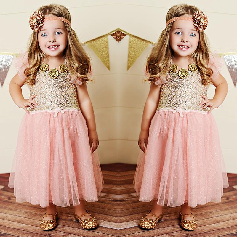 2015 new dress princess party dress girls sequin dress toddler kids gold sequined tutu princess dress pink for little girl(China (Mainland))