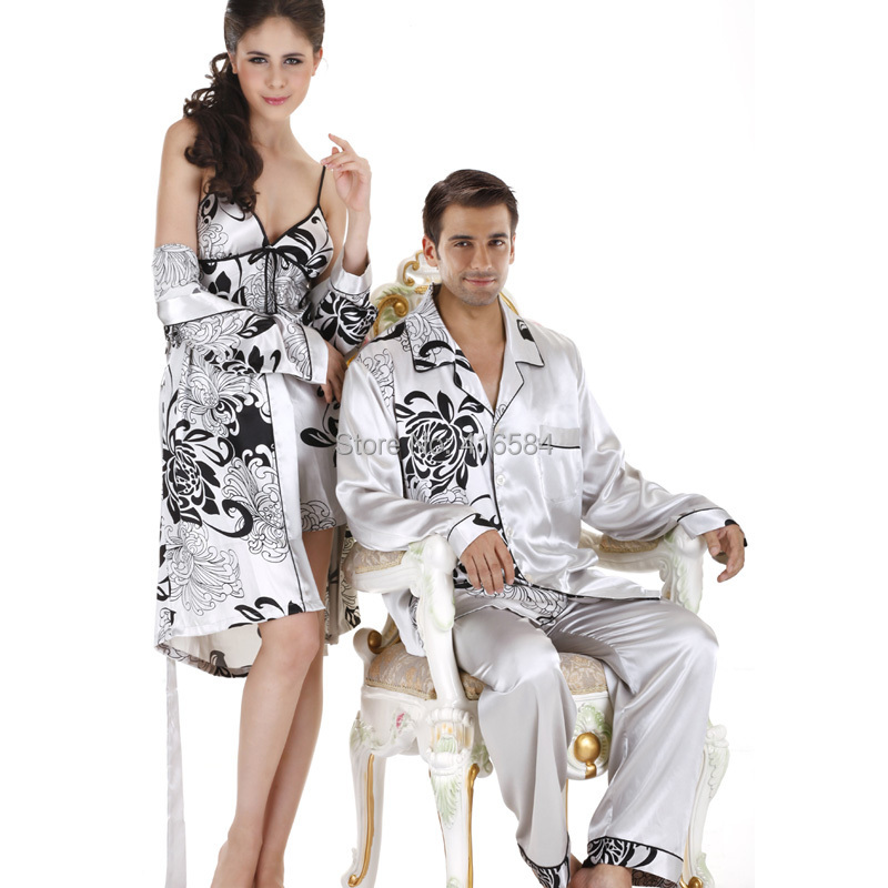 Elegant Noble Printed Long-sleeved Couple Pijama Men's Satin Pajamas Sets Satin Silk Sleepwear Mens Silk Pyjamas Home Clothes(China (Mainland))