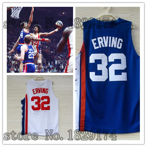 #32 Julius Erving Jersey New Material Rev 30 Basketball jersey,Best quality Authentic Jersey doctor j cool basketball jerseys(China (Mainland))