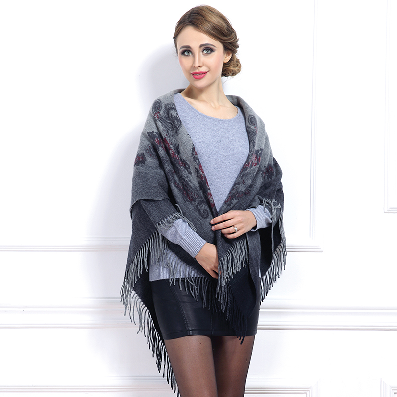 2015 National Style Gradient Color Tassel Square Shawl Women Thicken Printing Wool Scarf Pashmina Hot Fashion(China (Mainland))