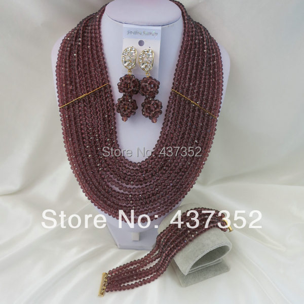 New Fashion Nigerian Wedding African Beads Purple Necklaces Bracelet Earrings Jewelry Set CPS-709<br><br>Aliexpress