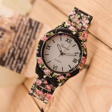 Brand Women Watch 2015 Fashion Casual Plastic Flower Geneva Quartz Watch Elegant Popular Women Wristwatch Relogio