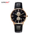 LONGBO Brand Lovers Genuine Leather Watch 2016 Women Casual Simple Quartz Watch Men Sports Waterproof Wristwatch