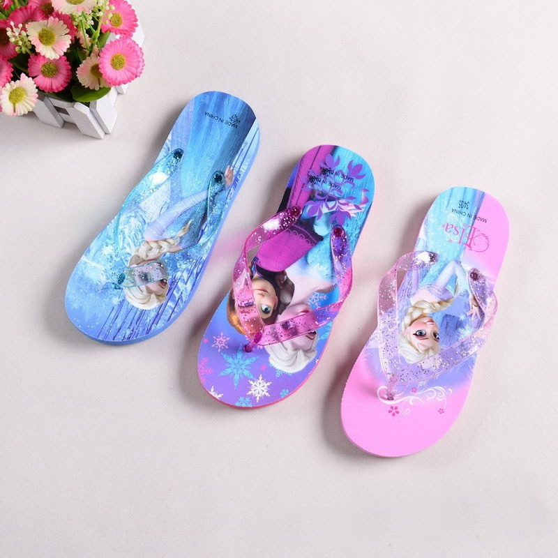 1pair 2016 summer Children girl's Elsa Sandals Flip flops Big girl cartoon Flip flops boy flip(China (Mainland))