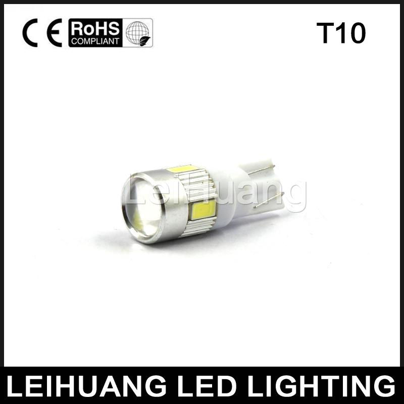 10 PCS 6 SMD 5630 T10 Car LED Bulb 194 W5W Wedge Width Side Lamp Parking Light 12V White(China (Mainland))