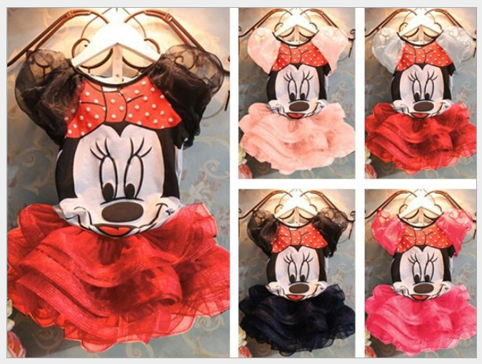 2015 Girls Cartoon Mickey minnie mouse Girls Dress For Party Kid Clothing Baby Children Wear Fashion Summer Girl Lovely Dresses(China (Mainland))