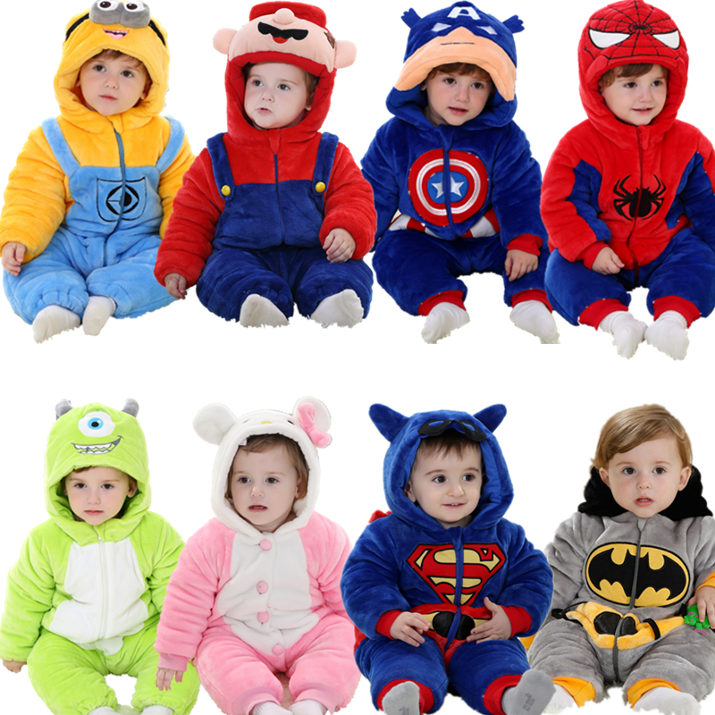 Newborn Baby Clothes Baby Rompers Boy Gril Winter Thickening Baby Christmas Clothes Minion Superman Super Mario Panda Costumes<br><br>Aliexpress