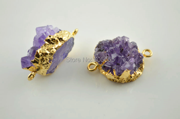 Unique Two Loops Natural Drusy Geode Amethyst Point Rough Stone Pendants 18k gold plated frame Jewelry Connector