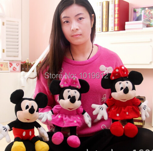 30cm High Quality cute Mickey mouse plush toys Minnie doll one pair of lovers 2pcs/lot(China (Mainland))