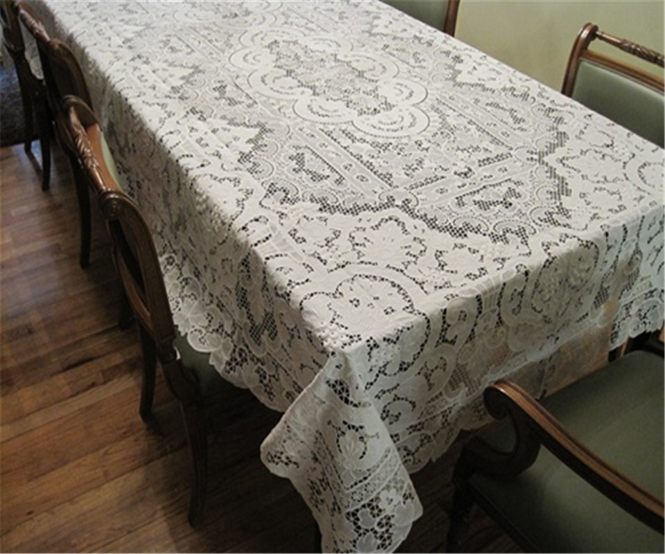 "linen hand patchwork embroidered tablecloth 72x108 "" white lace table cloth square floral grape pattern(China (Mainland))"