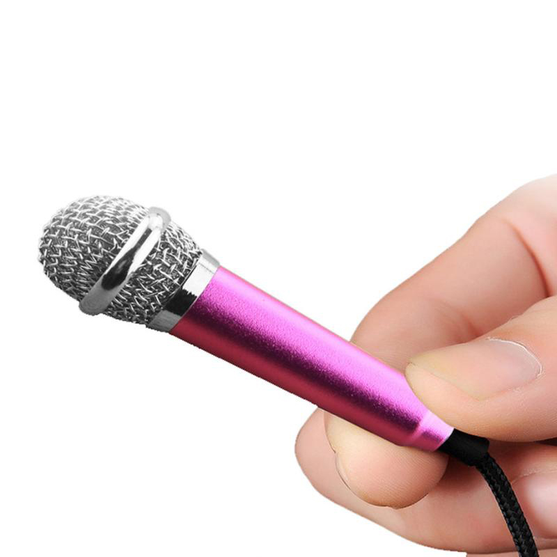 Free Shipping 3.5mm Wired Clip On Mini Lapel Mini Headset Microphone For Mobile Phone Sing Song Karaoke Microphone Rose Red(China (Mainland))