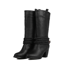 2016 Fashion PU Leather Women Western Boots Autumn Winter Chunky High Heel Motorcycle Botas Knee-High Cowboy Boot Big Size Shoes(China (Mainland))