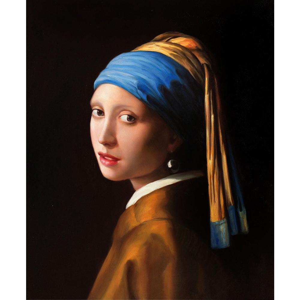 Jan vermeer fille avec la perle boucle d'oreille