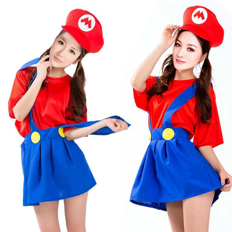 Adult Woman Girls Super Mario Luigi Bros Cosplay Costume Fancy Dress Carnival Party Supplies(China (Mainland))