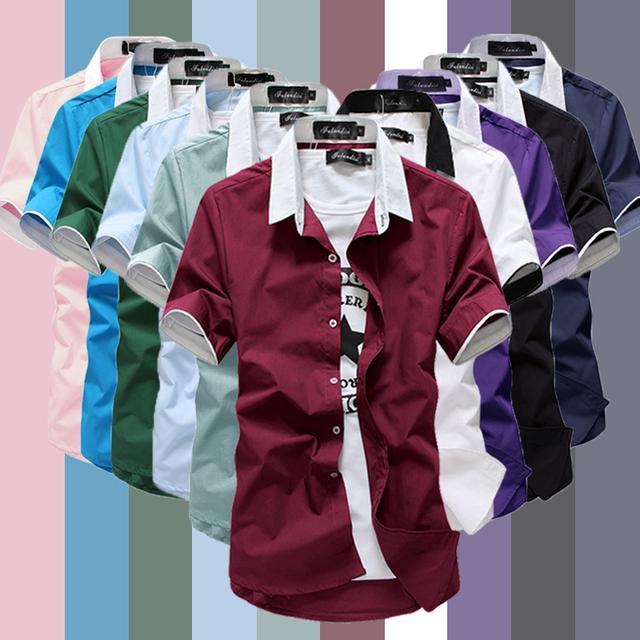 2015 горячая распродажа мужчины мода короткий рукав рубашки c58 p23 10