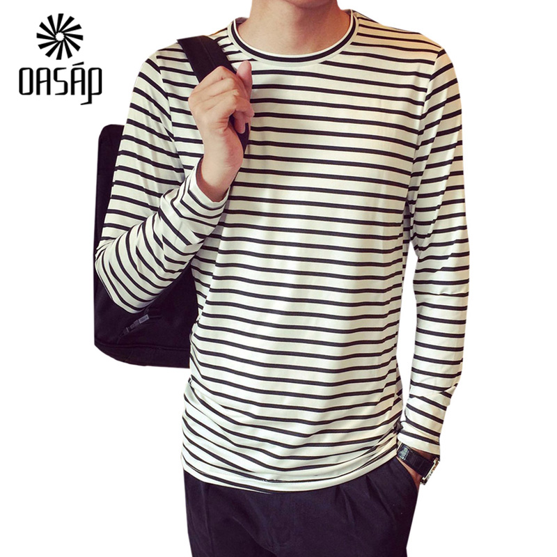 Oasap 2016 men striped black white cotton long sleeve t for White cotton long sleeve t shirt