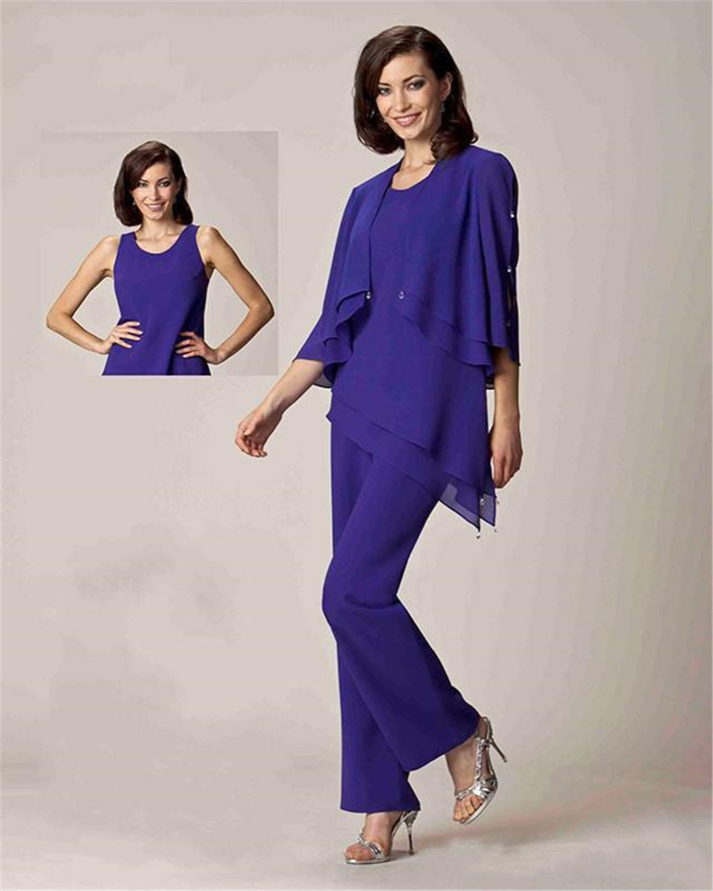 Elegant 2016 fashion three pieces chiffon mother of the for Dress pant suits for weddings plus size