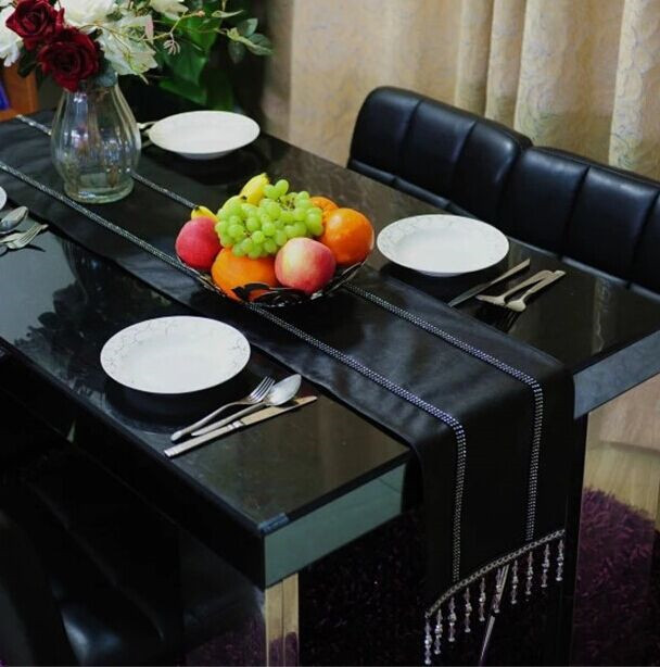 Black PU leather buckle drilling dinning table runner /table cloth /party decoration festival decor luxury minimalist modern(China (Mainland))