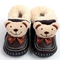 GSCH Lederen Baby Laarzen Winter Beer Warm Enkel Meisje Snowboots Zachte Konijnenbont Jongen Baby Mocassins Baby Schoenen Kids eerste Wandelaar(China)