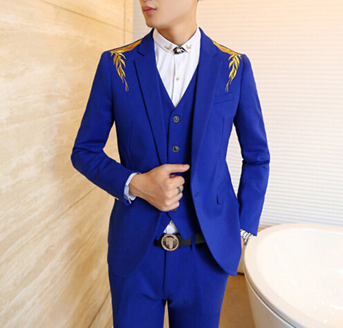 2015 New Blue Boys Blazer Slim Fit Men Red Blazers Korean Stylish Golden Embroidery Shoulder ...