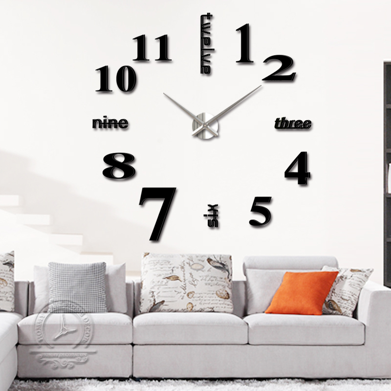 quartz diy modern clocks needle 3dacrylic watches big wall clock mirror sticker living room decor - DIY Home Decorations-Factory store