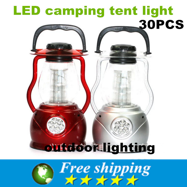 Portable LED 32 camp tents lamp, high efficiency and energy saving lantern, camping lamp, silver and red. X30(China (Mainland))