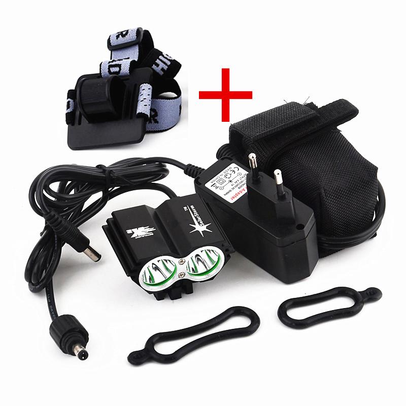 Здесь продается  20PCS/Lot SolarStorm 2X CREE XM-L U2 LED 5000Lm LED Front Head Bicycle Bike Light Headlamp with 6400mAh Battery + Charger  Спорт и развлечения