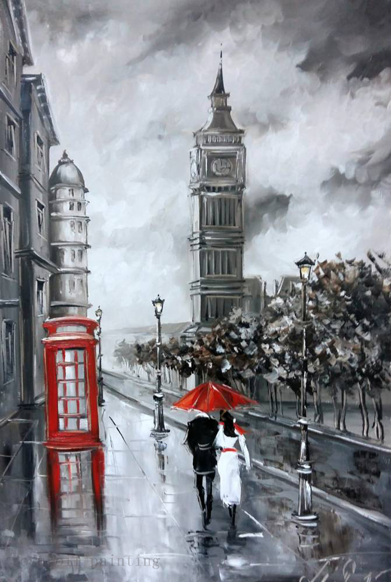 Buy Top Artist Handpainting Streetscape Black and White Knife Oil Painting on Canvas Handmade the Couple with Red Umbrella in Rain cheap