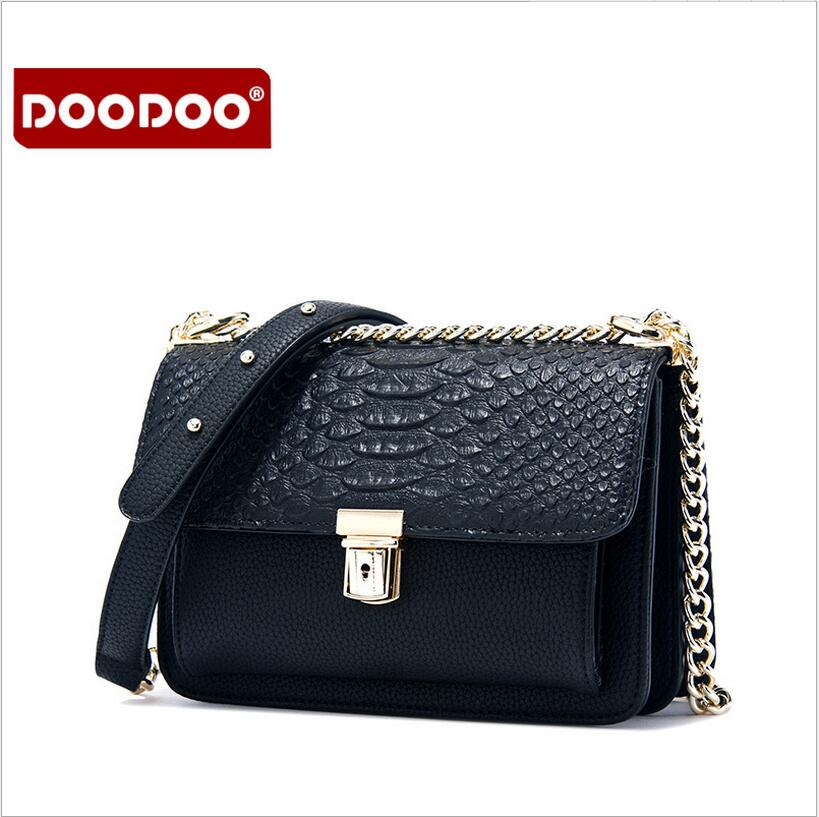 DOODOO Serpentine women pu leather bag Women's messenger bags tote handbags women famous brands high quality shoulder bag ladies(China (Mainland))