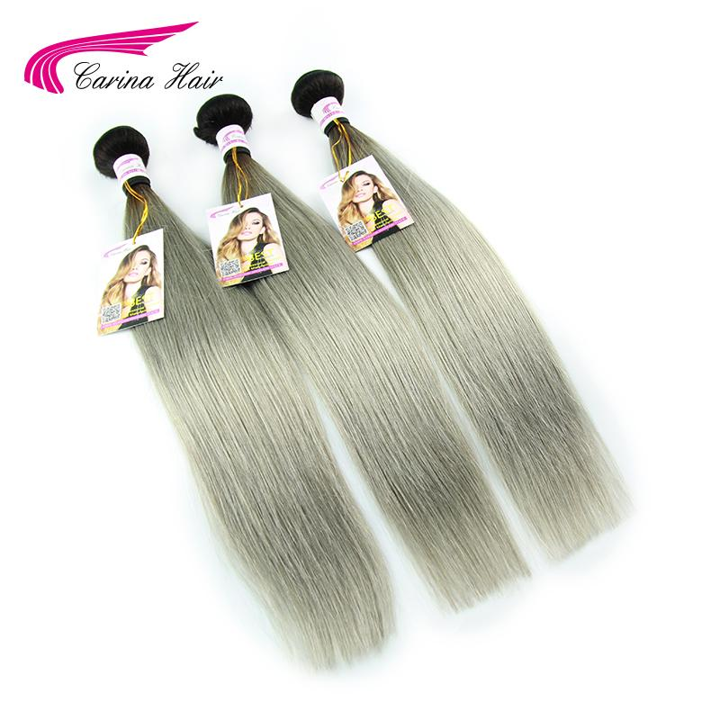 Brazilian Virgin Hair Straight with Closure 1b Grey Ombre Human Hair with Lace Closure Carina Hair 3 Bundles with Closure 4x4<br><br>Aliexpress